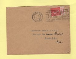 Type Semeuse - Bande Publicitaire Calvet Et Beaune - Paris RP Depart - 1930 - 1877-1920: Semi Modern Period