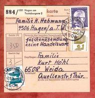 Paketkartenteil, MiF Heinemann + Unfallverhuetung, Hagen Nach Weida 1974 (57356) - Covers & Documents