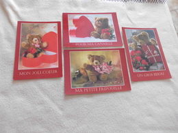 LOT DE 4 CARTES ILLUSTRATIONS ...MESSAGES ..SERIE OURS...WILLY'S - Fantaisies
