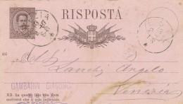 INTERO POSTALE EMISS. 1886 PIEGA CENTRALE RISPOSTA (Z1008 - 1878-00 Umberto I