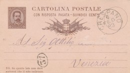 INTERO POSTALE EMISS1882 VIAGG.1883 15 CENT RIPOSTA PAGATA TIMBRO CRESPANO (Z1013 - Stamped Stationery