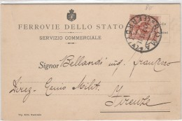 CARTOLINA FERROVIA DELLO STATO SERVIZIO COMMERCIALE CENT.2 1912 (Z1083 - 1900-44 Victor Emmanuel III.