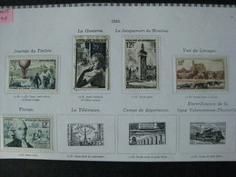 Timbres Français : Année 1955 YT N° 1018*, 1019*,1020(o), 1021*, 1025* - France