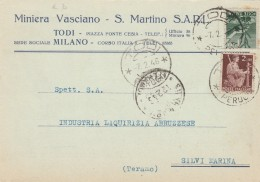 CARTOLINA 1946 CON 1+2 LIRE TIMBRO TODI-PERUGIA (Z1169 - 1946-60: Marcophilie