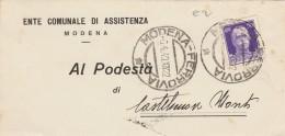 LETTERA 1940 CENT.50 TIMBRO MODENA - ENTE COMUNALE ASSISTENZA (Z1181 - 1900-44 Victor Emmanuel III.