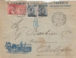 LETTERA 1912 CON 2X15 CENT +10 CENT CINQUANT. UNITA' ITALIA-TIMBRO BRINDISI NAPOLI - AMBULANTE (Z1350 - Marcofilía