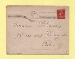 Krag - Paris Distribution - 7 Lignes Droites Inegales - Bloc Dateur 4 Lignes - 1907 - Oblitérations Mécaniques (flammes)