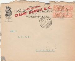 LETTERA 1944 VIAGGIATA CON CENT.2X50 PACCHI POSTALI -VARIETA' DENTELLATURA (Z1421 - 4. 1944-45 Repubblica Sociale