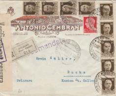 RACCOMANDATA 1941 CON 9X30+20 CENT TIMBRI BOLZANO - BUCHS(SVIZZERA) -CENSURA (Z1440 - 1900-44 Vittorio Emanuele III