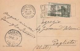 CARTOLINA 1927 VON 20 CENT.S.FRANCESCO-TIMBRO STABILIMENTI TERMALI-PAGLIETA FOGGIA (Z1449 - 1900-44 Vittorio Emanuele III