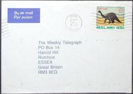 Malawi - Cover To England Dinosaur Sauropod 1994 Zomba - Malawi (1964-...)