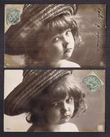 Lot De 2 CPA Enfant Portrait Jolie Fillette Rêveuse Ou Boudeuse - Pretty Girl - Photo - Portraits