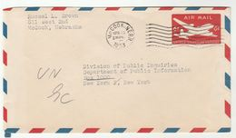 1953 USA McCOOK NEBR To UNITED NATIONS PUBLIC INQUIRES DEPT Airmail POSTAL STATIONERY COVER Aviation Un Stamps - UNO