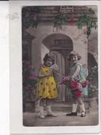 NIÑAS GIRLS FILLES CALENDARIO FLORES FLEURES ENVELOPPE COLORISE. CIRCULEE CIRCA 1900's TIMBRES ARRACHES -. BLEUP - Fotografie