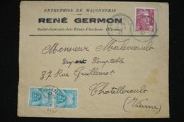 Paire 2fr Chiffre Taxe  Sur Lettre 5fr Gandon  4/2/47 René Germon St Gervais Les 3 Clochers - 1859-1955 Storia Postale
