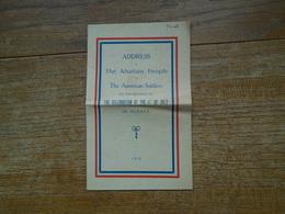 Assez Rare Document Donné Au Soldat Américain Pour La Célébration De La Libération De L'alsace Le 4 Juillet 1918 - Documents