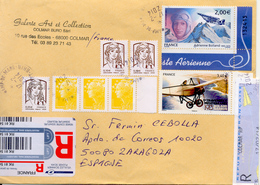 "France 2014 "" Adrienne Bolland, Aviatrice "" Lettre Recommande Vers Espagne. Yvert Aé68 - Femmes Célèbres"