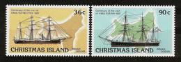 """CHRISTMAS ISLAND 1986 - Centennial VISIT HMS """"Flying Fish"""" A. HMS """"Egeria""""- 2v Mi 231-232 MNH ** Cv€4,20 V863o - Christmaseiland"""