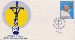 Lote 1703Fx, Colombia, 1986, SPD - FDC, Papa Juan Pablo II, Pope John Paul II, Con La Paz De Cristo - Colombie