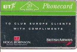 CARTE-GB-HOLOGRAPHIQUE-PUBLICITAIRE-20U-CLUB BRITISH AIRWAYS- V° N° Env 128 K02490-BE - Royaume-Uni