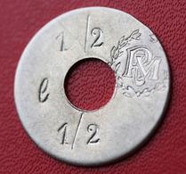 """Rare Token Jeton Uniface De Nécessité """" 1/2 L  RM """" (Royal Marines, Corps Expéditionnaire, ... ?) UK Army - Professionnels/De Société"""