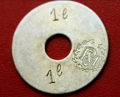"""Rare Token Jeton Uniface De Nécessité """" 1 L  RM """" (Royal Marines, Corps Expéditionnaire, ... ?) UK Army - Professionals/Firms"""