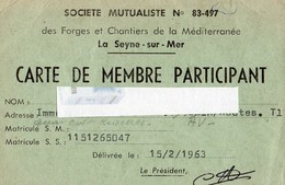 Carte De Membre6sété Mutualliste N°83-497 DES FORGES ET CHANTIERS DE LA MEDITERRANEE  LA SEYNE SUR MER VAR  1963 - Maps