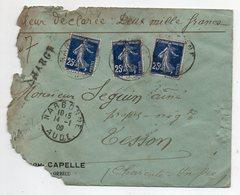 1909--Valeur Déclarée Type Marianne 25c X 3 Pour TESSON-16-- Cachets NARBONNE-11--SAINTES-17-cachets De Cire - Postmark Collection (Covers)