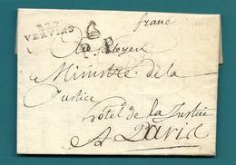 Aisne - Vervins Pour Le Ministre De La Justice. LAC En Port Payé. PP Avec Bonnet Phrygien. Superbe. Ecrite à HIRSON - Marcophilie (Lettres)
