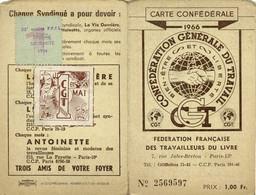 3 Cartes Syndicales CGT Fédération Française Des Travailleurs Du Livre 1966 1967 1968 Rouen - Maps
