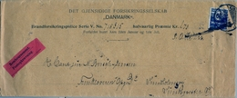 1913 , DINAMARCA , COPENHAGUEN - INTERIOR , SOBRE COMERCIAL DE ENVÍO CONTRA  REEMBOLSO , POLIZA DE SEGUROS - 1913-47 (Christian X)