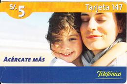 PERU - Mother & Child, Telefonica Prepaid Card S/. 5, Exp.date 04/10/07, Used - Peru