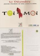 44 NANTES CARTE PUBLICITAIRE JOURNEE MONDIALE DE LUTTE CONTRE LE SIDA 1ER DECEMBRE EDITEURS CARTCOM ET VILLE DE NANTES - Nantes