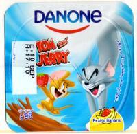 "Opercule Cover Yaourt Yogurt "" Danone "" Tom & Jerry 2 French Disney Banane  Banana  Yoghurt Yoghourt Yahourt Yogourt - Opercules De Lait"