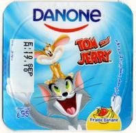 "Opercule Cover Yaourt Yogurt "" Danone "" Tom & Jerry 3 French Disney Banane  Banana  Yoghurt Yoghourt Yahourt Yogourt - Opercules De Lait"