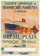 France Navigation Postcard S.G.T.M. Brésil-Plata 1925 - Reproduction - Advertising