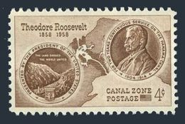 USA Panama Canal Zone 150,MNH,Michel 145. Theodore Roosevelt 1858-1919,birth Centenary,1958. Roosevelt Medal,Map. - Famous People