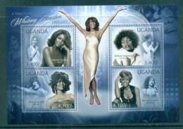 Uganda 2012 Famous People, Music, Female, Whitney Houston MS MUH UGN001 - Uganda (1962-...)