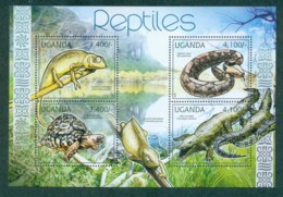 Uganda 2012 Reptiles, Crocodile, Chameleon, Tortoise, Iguana, Snake MS MUH UGN12109a - Uganda (1962-...)
