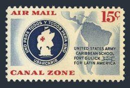 Panama Canal Zone C32,MNH.Mi 149. US Army Caribbean School,1961.Emblem-ship,Map. - Ships