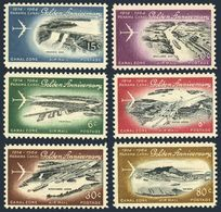 Panama Canal Zone C36-C41,MNH. Panama Canal-50,1964.Cristobal,Gatun Locks,Bridge - Airplanes