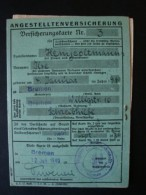 Angestelltenversicherung Versicherungskarte, Mit Vielen Beitragsmarken, Bremen 1940 - Dokumente