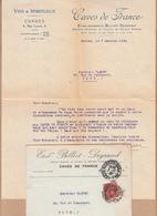 PUBLICITE Theme VINS Et SPIRITUEUX Lettre + Envel De CANNES Alpes Mmes Pour Le 7 Janv 1930 Pour NICE - Advertising