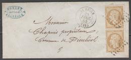 Gironde:  G.C.3114 Sur N°21(paire) + CàD LA REOLE(32) Sur LSC De 1865 - Marcophilie (Lettres)