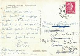 SAVOIE - ST COLOMBAN DES VILLARDS - LE 12/7/1957 -  SUR CARTE POSTALE AVEC 15F TYPE MULLER - COSTUME DU PAYS. - Postmark Collection (Covers)
