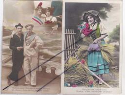 Lot De 4 Cartes Patriotique En Alsace.Autrefois/Matelots/Jolies Alsaciennes Et Militaires - Patriotiques