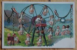 Bébés à La Fête Foraine - Grande Roue - Fantaisie - Couleurs - Dos Simple  - (n°13114) - Babies
