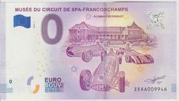 Billet Touristique 0 Euro Souvenir Belgique Musée Du Circuit De Spa Francorchamps 2018-1 N°ZEAA009946 - EURO