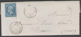 Yonne:  G.C.1243 Sur N°22 + CàD CRUZY-LE-CHATEL(83) Sur LAC De 1866 (origine RUGNY) - Marcophilie (Lettres)