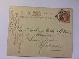 GB - Victoria Postal Stationary Card - Halifax Squared Circle To Rodchdale - 1896 - Briefe U. Dokumente